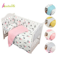 Muslinlife 3pcs Set Cotton Bedding Set Fashion Cactus Flamingo Fox Pattered Cotton Crib Sets Duvet Cover