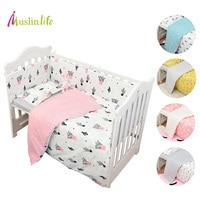 Muslinlife 3pcs Set Cotton Bedding Set Fashion Cactus Flamingo Fox Pattered Cotton Crib Sets Duvet Cover