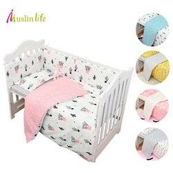Muslinlife 3 unids/set ropa de cama de algodón conjunto de moda de Cactus/Flamingo/Fox cayendo de algodón cuna Sets (funda nórdica + funda + hoja plana)