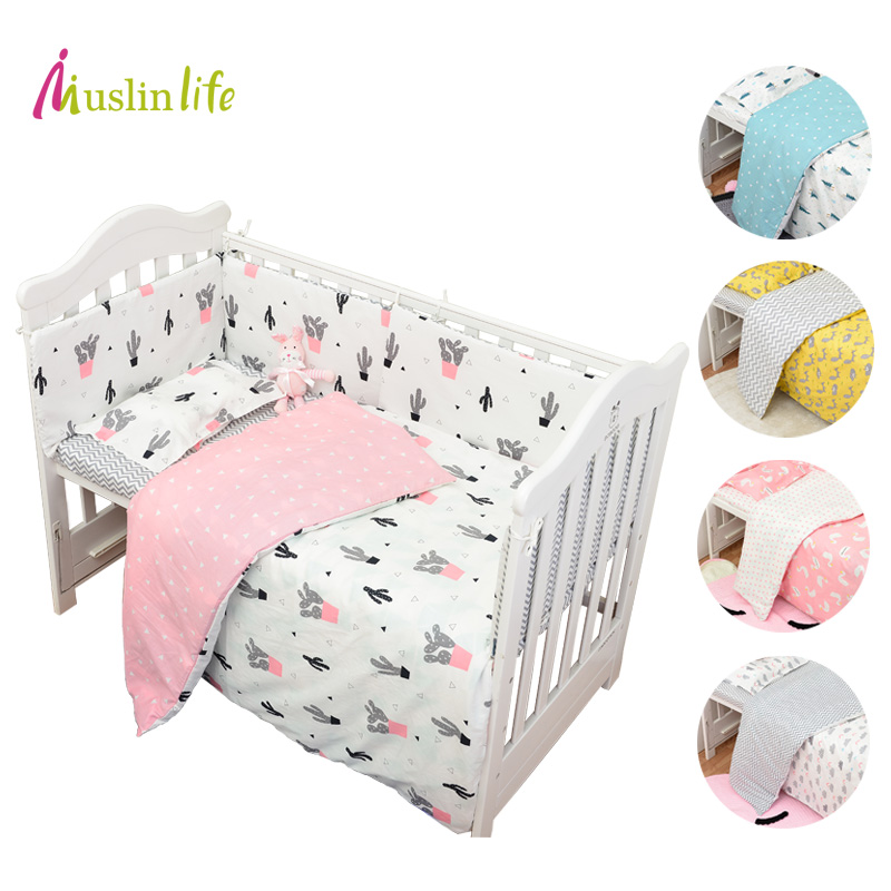 Muslinlife 3pcs/set Cotton Bedding Set, Fashion Cactus/Flamingo/Fox Pattered Cotton Crib Sets(Duvet Cover+ Pillowcase+Flatsheet) kess inhouse danny ivan ticky ticky twin cotton duvet cover