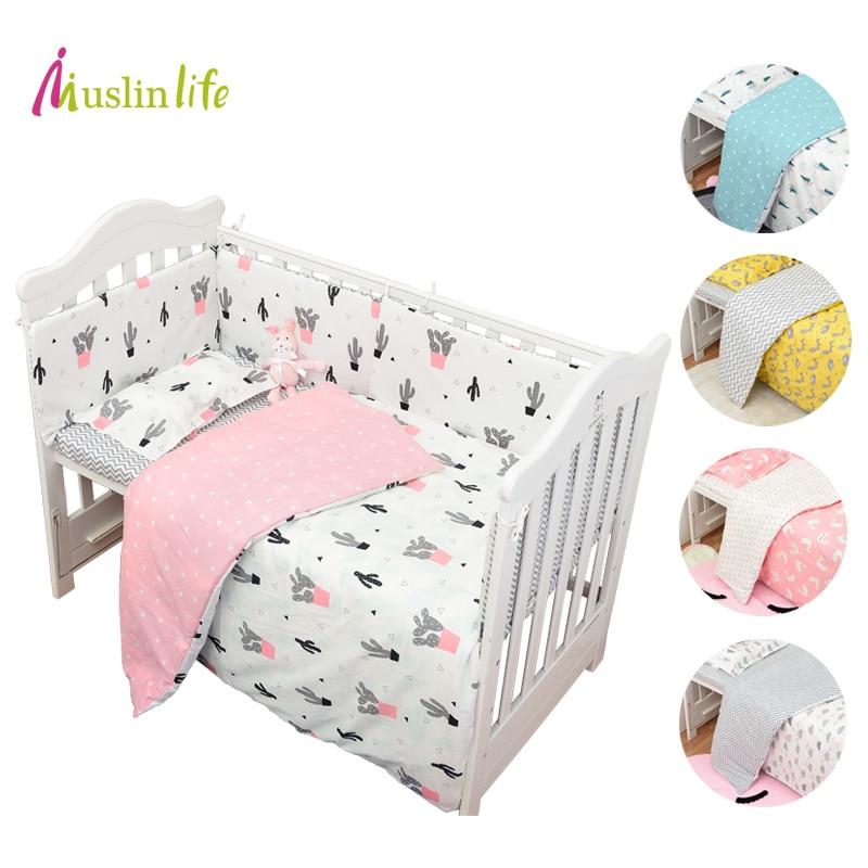 Muslinlife 3pcs/set Cotton Bedding Set, Fashion Cactus/Flamingo/Fox Pattered Cotton Crib Sets(Duvet Cover+ Pillowcase+Flatsheet)