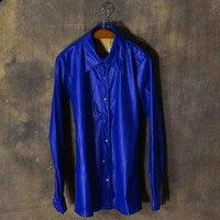Nhiều màu Kim Loại Nặng Đồng PU Leather Mens Casual Shirts Dài Tay Áo Sơ Mi Mens Thời Trang 2017 Mùa Xuân Mùa Thu Nghệ Thuật Biểu Diễn