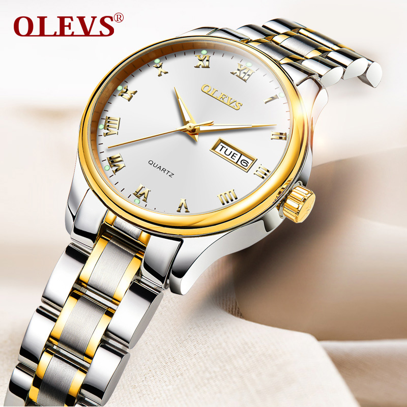 OLEVS Romantic Lovers Quartz Watches Top Brand Gold Color Dial Women Men Waterproof Wristwatches Male Clock Watch Christmas Gift mige 20017 new hot sale top brand lover watch simple white dial gold case man watches waterproof quartz mans wristwatches