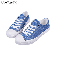 Uwback 2016 New Fashion Women Canvas Round Toe Lace-Up Stripe Jeans Autumn Shoes Plus Size Casual Rubber Flat Shoes Mujer XJ115