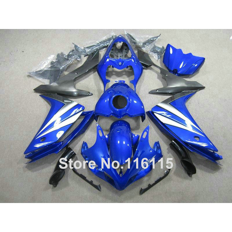 Injection molding motorcycle parts for YAMAHA YZF R1 2007 2008 fairings set YZF-R1 07 08 blue white black ABS fairing kit QZ63 hot sales for yamaha yzf r1 2007 2008 accessories yzf r1 07 08 yzf1000 black aftermarket sportbike fairing injection molding