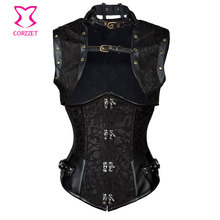 Black Sexy Corset Steel Bone Underbust Bustier Steampunk Corsets And Bustiers W/ Jacket Outfit Korsett For Women Gothic Clothing