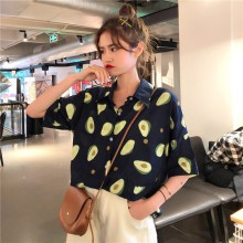 цена на Top Women Blouse Short Sleeve Casual Summer Avocado Print Shirt Turn-down Collar Beach Hawaiian Shirts Streetwear Couple Shirts