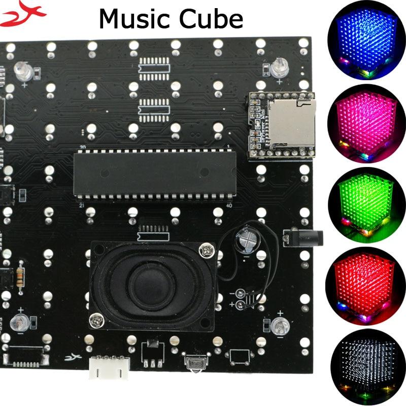 New 3D 8S 8x8x8 mini mp3 music light cubeeds kit built in audio spectrum remote switch