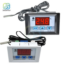 XH-W1321 DC 12V Digital LED Temperature Thermostat Controller 10A Switch Probe -50-110 Degrees White black