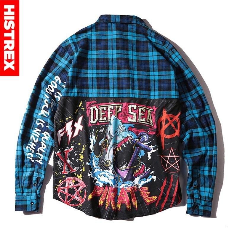 HISTREX Plaid Dress Shirts Mens Hip Hop Shark Printed Long Sleeve Jacket Shirts Pockets 100% Cotton Extended Streetwear H120AF#