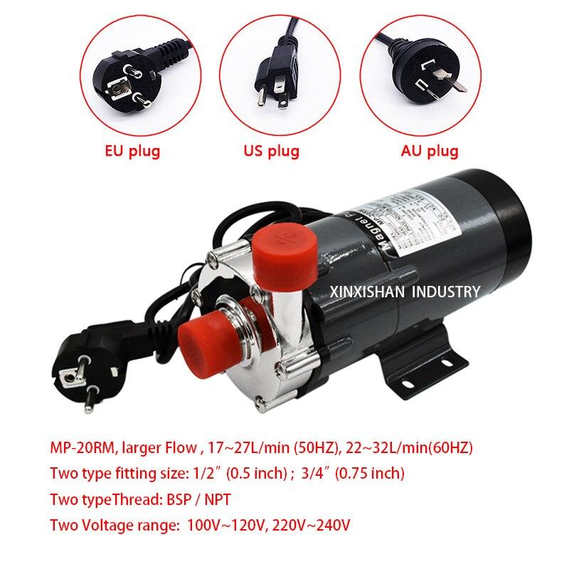 Pompe à eau de qualité alimentaire magnétique de tête d'acier inoxydable de la MP-20R 304 de pompe à eau de maison de brasserie 3/4