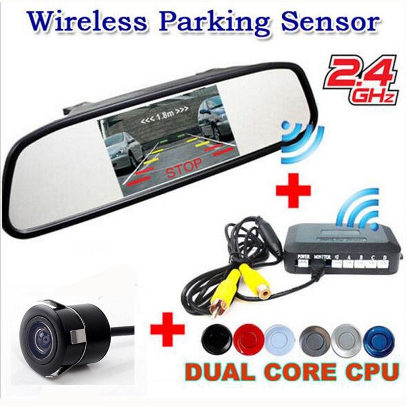 Car wireless parking Alarm Sound Sensor assist system Kit (5  Mirror Monitor + Reversing Camera + Sensor +Wireless adapter)
