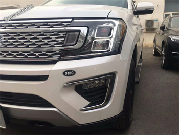 Lapetus Front Fog Lights Foglight Lamp Frame Cover Trim 2 Piece Fit For Ford Expedition 2018 ABS / Accessories Exterior
