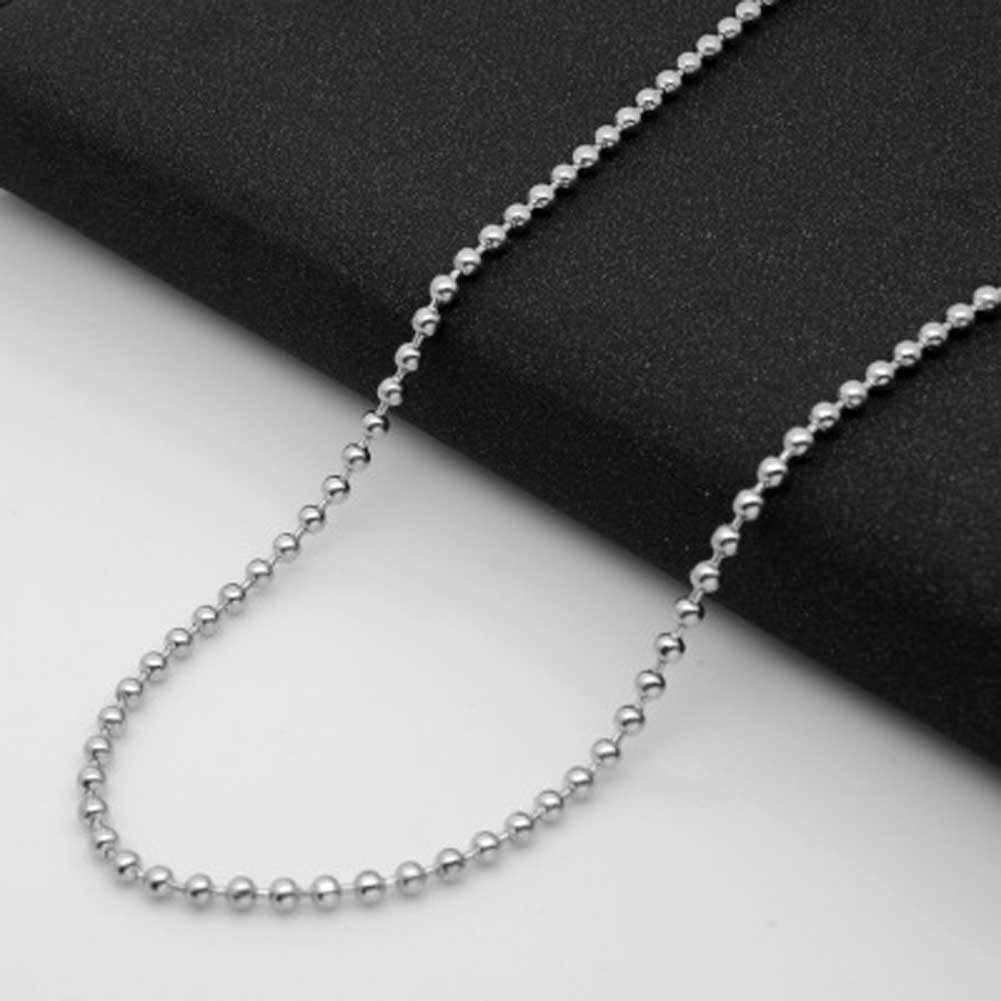 Wholesale 2mm  Stainless Steel Titanium Silver Color Ball Beads Necklaces Chains Men Women Jewelry Accessories Necklace