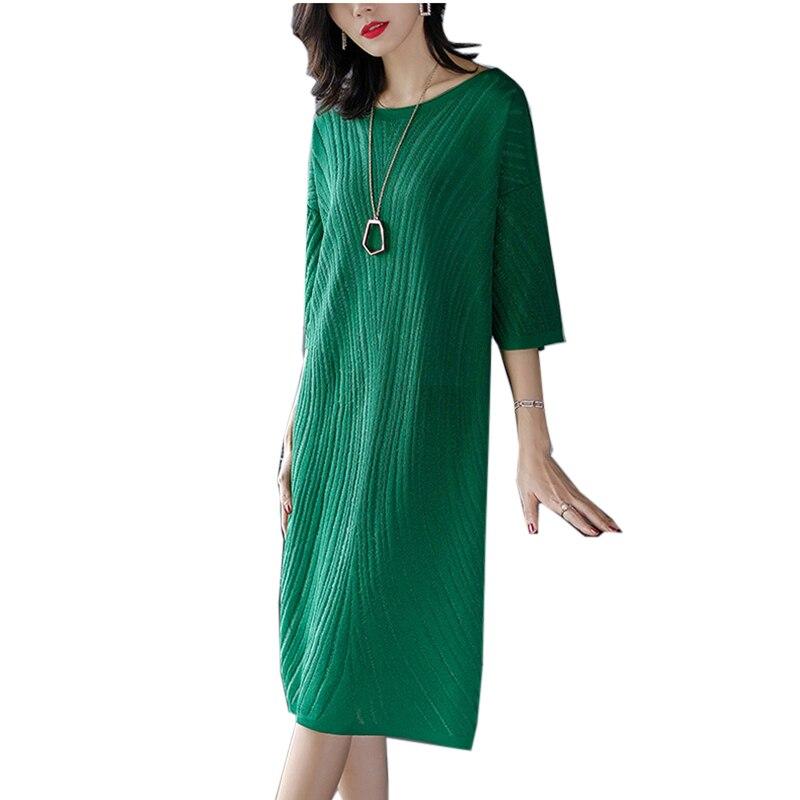 2018 New Summer Elegant Knit Sweater Dress Women Korean stylish O-collar Casual Loose Large Knit Long Dress Vestidos YM618