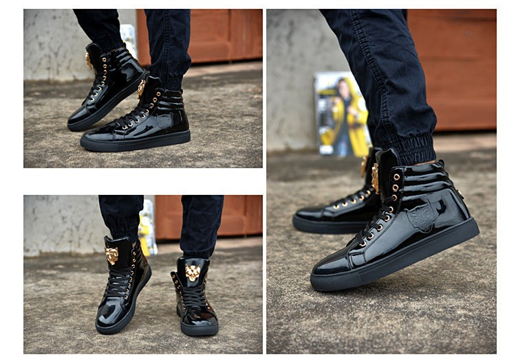 Fashion Leopard Sequined Skate Shoes For Men Ankle Boots 2015 New PU Patent Leather Shoe High Top Casual Flats Medusa Shoes F184 (19)