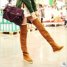 Classic Flat Boots Round Toe Flat Heel Women's Over Knee Boots Winter Warm Shoes