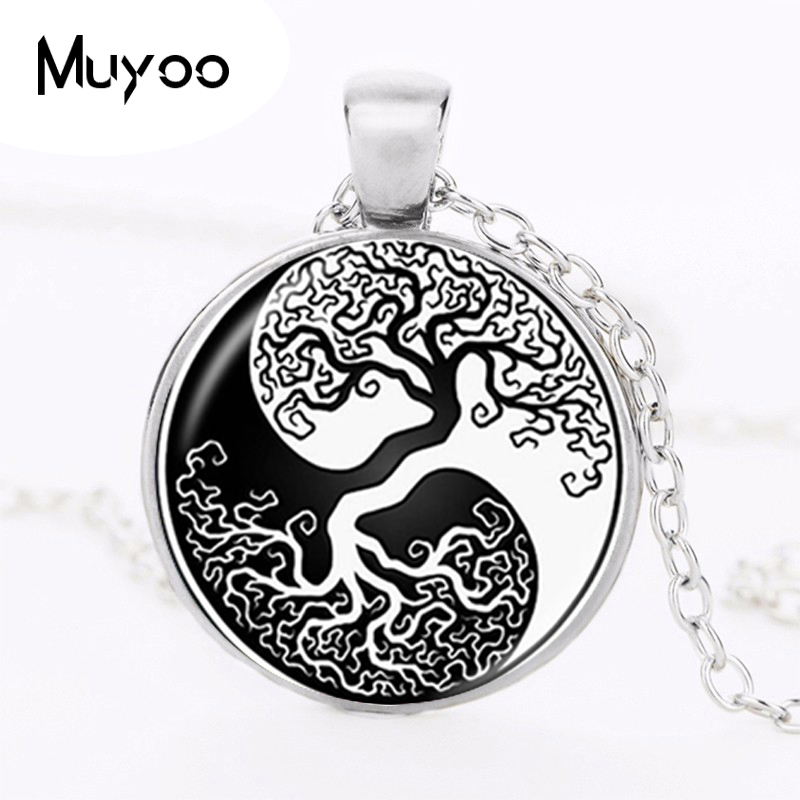 Yin yang pendant tree of life necklace glass cabochon for Zen culture jewelry reviews