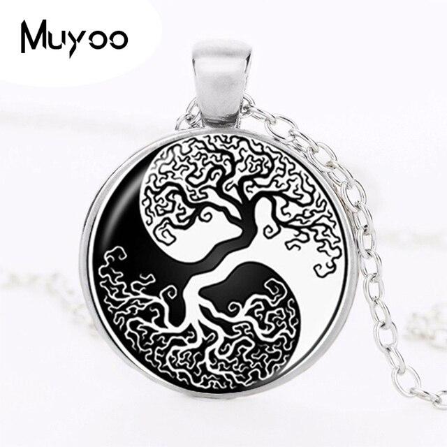 Yin Yang Pendant Tree Of Life Necklace Glass Cabochon Jewelry Zen