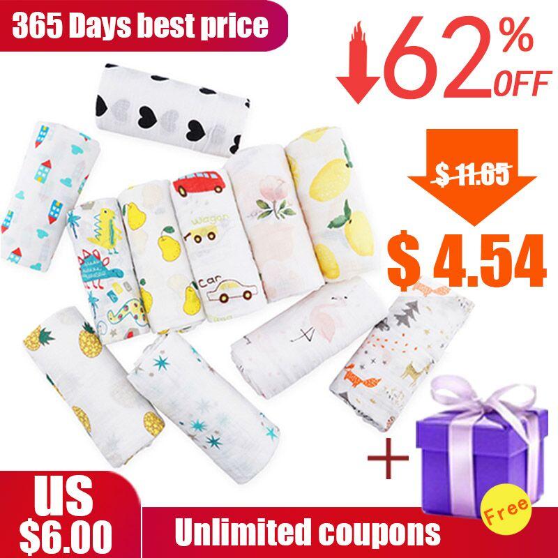 все цены на Muslinlife Cotton Baby Blanket Soft Wrap Babys, Newborn Baby Muslin Blanket 2layers, 110*110cm