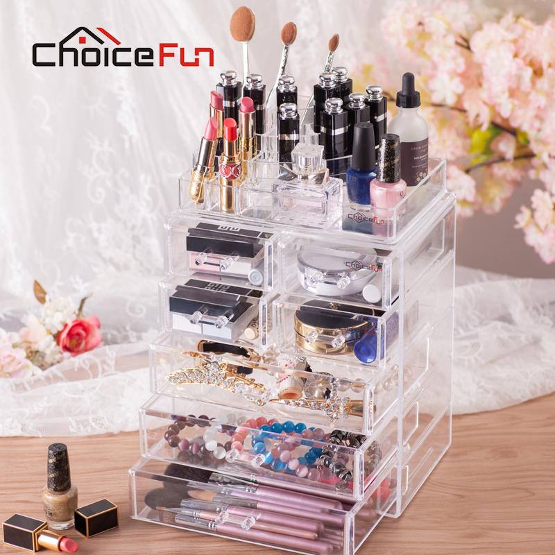 Choix FUN luxe grand tiroir de rangement maquillage clair détachable boîte de rangement acrylique cosmétique organisateur étui de rouge à lèvres SF-1543-7