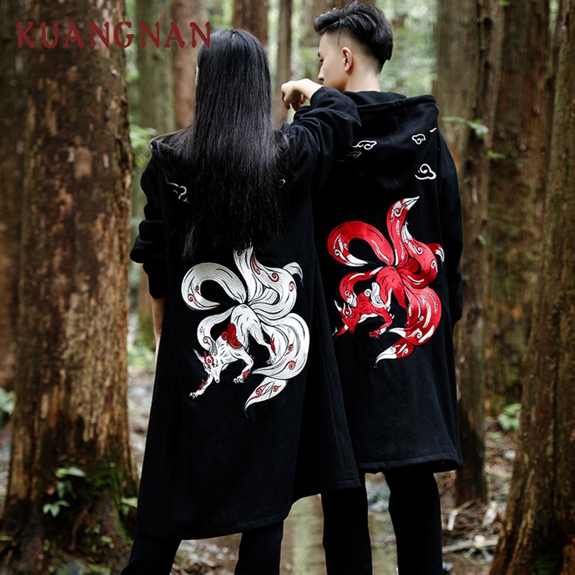 Zongke Chinese Style Embroidery Duffle Winter Coat Men Long Wool Coat Mens Overcoat Long Jacket Men Coat Winter Man Clothes 2019(China)
