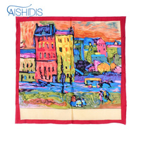 Headband Ladies Luxury Brand New Silk Square Scarf Collar Cool Wrap Print Works Wassily Kandinsky's Houses in Munich
