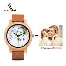 사용자 정의 브랜드 자신의 사진 시계 독특한 대나무 나무 가죽 인과 석영 남자 시계 연인을위한 사용자 정의 로고 생일 선물