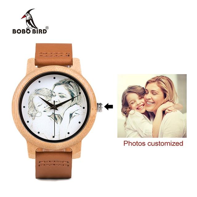 カスタムブランド自身の写真腕時計ユニークな竹木革因果石英男性はカスタマイズされたロゴ誕生日ギフト