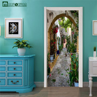 Maruoxuan 2017 New 3D Door Paste Paris Street Landscape Sticker Bedroom Door Background Decoration Wallpaper Pvc