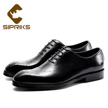 Sipriks Mens Genuine Leather Carved Oxfords Elegant Male Wedding Shoes Boss  Men Business Office Work Shoes Formal Tuxedo Dress f0208ea0f49a