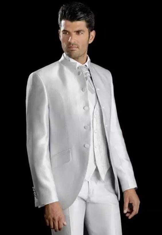 Новый стильный белый Стенд ошейник пять кнопки Жених Смокинги Мужские свадебное платье Пром Одежда индивидуальный заказ мужской костюм (ку