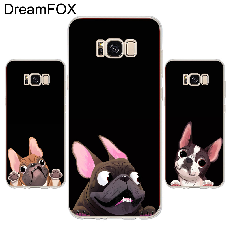 DREAMFOX K055 cute dog Soft TPU Silicone Case Cover For Samsung Galaxy Note S 3 4 5 6 7 8 9 Edge Plus Grand Prime