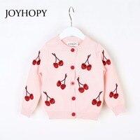 JOYHOPY Girls Jacket Fashion Cherry Knitting Baby Girl Coat 2018 Autumn Spring Kids Long Sleeve Outerwear