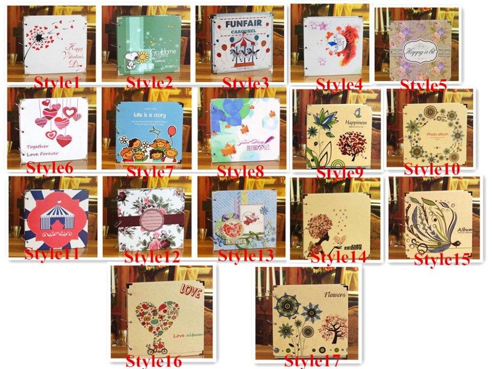 16 pouces mariage grand Vintage papier auto-adhésif noir feuilles Photo Scrapbook bébé papier livres Album Photo