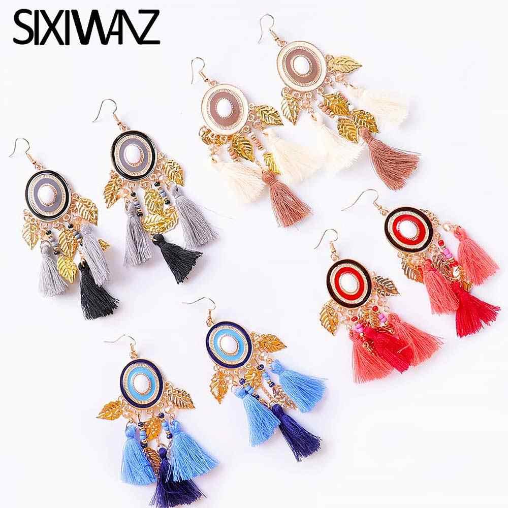 Bohème grand Long balancent gland boucles d'oreilles pour les femmes ZA mode frange boucles d'oreilles luxe à la main géométrique frange bijoux