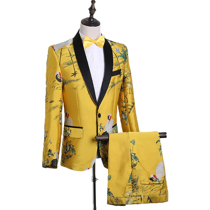 Cozimastarla New Chinese Style Singer Host Korean Slim Fit Flower Printed Performance Costume Men Casual Stage Show Suits 2XL