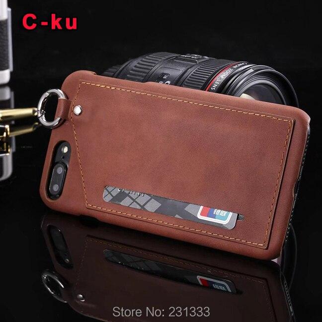 Для iphone 7 7 plus i7 6 6s плюс i6 hard pc pu кожаный <font><b>case</b></font> кредитной id слот для карты ремень отверстие гибридный кожного покрова карман мода 1 шт.