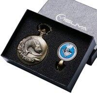 Minimalism Men Women Gifts FISHING Steampunk Pendant Fish Necklace Pocket Watch Vintage Bronze Watches Set with Box