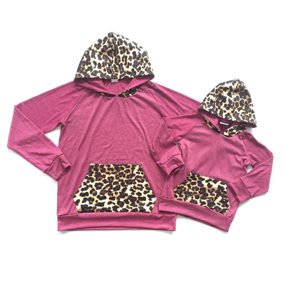 Hoodie Pocket Boutique Leopard-Print Baby-Girls Kids Cotton Me And Mom with Hat Red-Wine