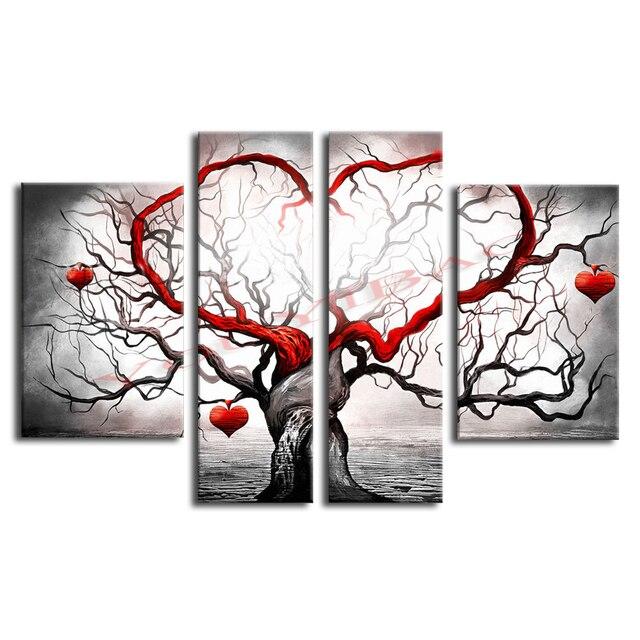 YouYiBao Ölgemälde Moderne Abstrakte Handgemalte Home Wand Kunst Dekoration  Für Wohnzimmer 4 Stücke Set Rot Herz