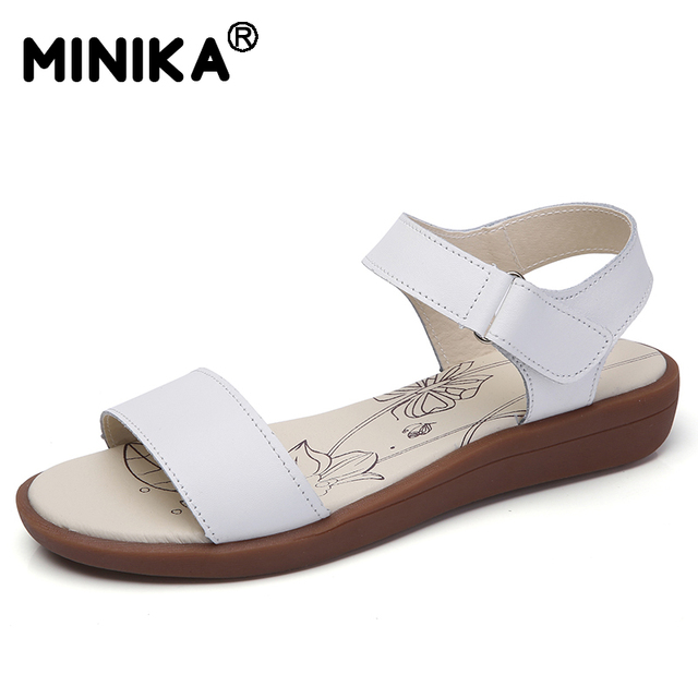 76a9fee3d5e US $15.58 32% OFF Minika Women Summer Platform Oxford Sandals Female  Fashion Plus Size 41 Leather Sweet Casual Pink Shoes Lady Flats Beach  Slipper-in ...