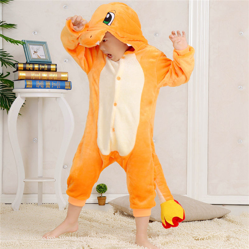 Anime Pajamas Pokemon Charmander pokemon Children Animal Onesies Cosplay Costume Pajamas Hot Sale unisex Onesie for kids