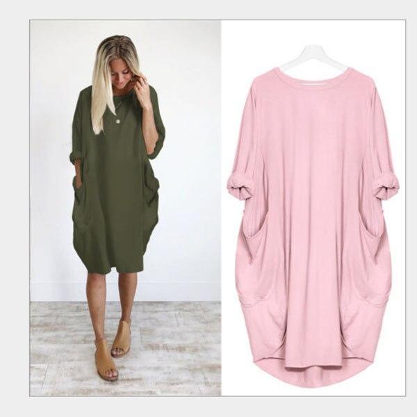 Fashion Autumn Winter Warm Sweater Women O-Neck Loose Knitted Oversized Sweater Dress Outwear Plus Size S-2XL Long Sweater