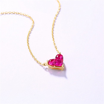 14K Gold Heart-shaped Necklace Simple Small Fresh Sweet Versatile 3mm Moissanite Diamond with Chian Necklace for Women 2