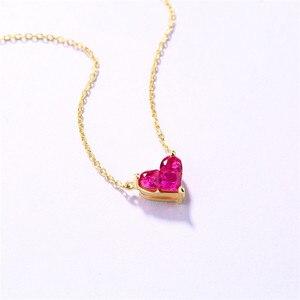 Image 2 - 14K Gouden Hartvormige Ketting Eenvoudige Kleine Verse Zoete Veelzijdige 3 Mm Moissanite Diamond Met Chian Ketting Voor vrouwen
