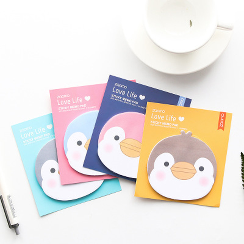 1pcs Penguin Sticky Notes Cute Stationery Planner Stickers Memo Sheets Office School Supplies Cute Cartoon Student Memo Pad