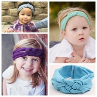 New Baby Knot Headbands Cotton Baby Headwrap Solid Cross Knot Baby Turban Tie Knot Headwrap Fashion