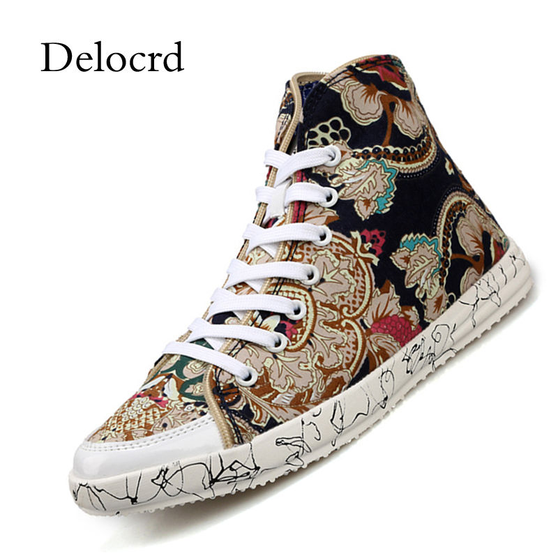 Personality Men Casual Canvas Sneaker Shoes High Top Camouflage Floral Pattern Lace Up Black Blue Nation Wind Men Shoes Delocrd light blue scoop neck crochet floral lace trim cami top