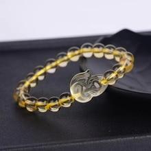 Genuine Natural Yellow Citrine Round Beads Bracelet Women Gemstone 12mm 10mm 8mm Fox Pendant Beads Wealthy Stone Gift AAAAA